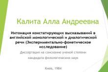 Калита А.А. Интонация констатирующих высказываний в английской монологической и диалогической речи (Экспериментально-фонетическое исследование)